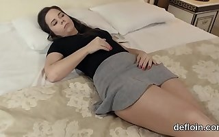 Defloration of sensual sweetie-pie pink fuckbox and masturbating